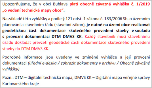 Upozornění na platnost vyhlášky - o vedení technické mapy obce